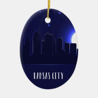 Kansas Cityskyline-Silhouette nachts Keramik Ornament