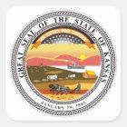 Kansas-Staats-Siegel Quadratischer Aufkleber