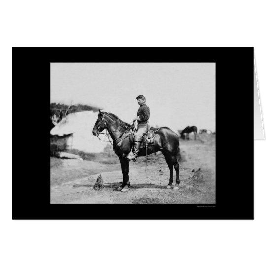 Kapitän Howard zu Pferd in Falmouth 1863 Grußkarte