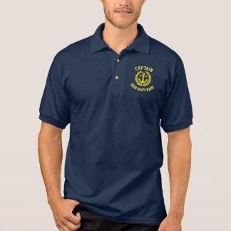 Kapitän- und Bootsname mit Anker Polo Shirt
