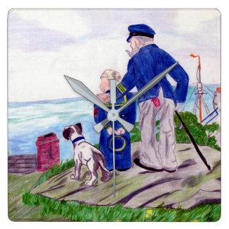 Kapitän zur See und Enkel Quadratische Wanduhr