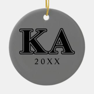 Kappa-Alphaauftrags-gotische Schriften Rundes Keramik Ornament