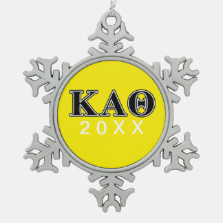 Kappa-Alphatheta-gotische Schriften Schneeflocken Zinn-Ornament