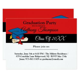 Kappe mit Diplom-roter Abschluss-Einladung Karte