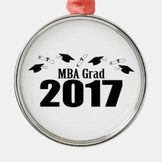 Kappen MBA-Absolvent-2017 und Diplome (Schwarzes) Silbernes Ornament