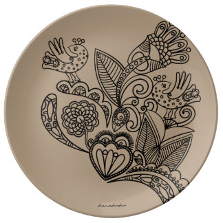 Karakoko Blumenporzellan-Teller-Cappuccino Teller