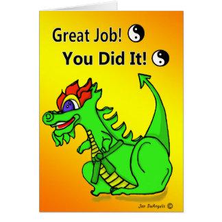 Karate-Drache-grüner Gurt-Werbeaktion-Gruß-Karte Grußkarte