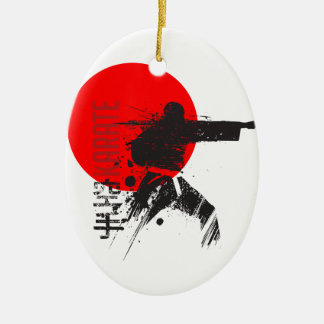 Karate Japan Ovales Keramik Ornament