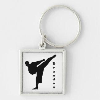 Karate Keychain Silberfarbener Quadratischer Schlüsselanhänger