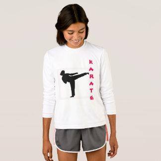 Karate-Mädchen-langes Hülsen-Shirt T-Shirt