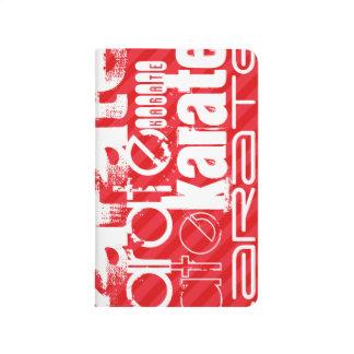Karate; Scharlachrot Rot-Streifen- Taschennotizbuch