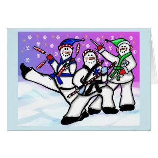 Karate-Schneemänner mit Waffen-Karte Grußkarte