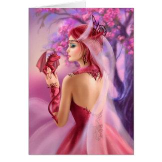 Kardieren Sie schöne Fantasiefrauenkönigin und Grußkarte