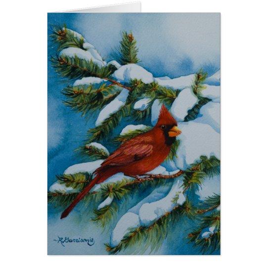Kardinal 6478 im Kiefern-Weihnachten Grußkarte