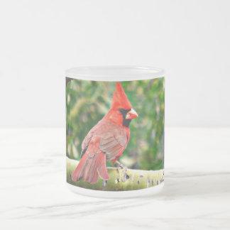 Kardinal auf einer Glied-mattierten GlasTasse Mattglastasse