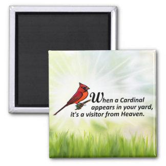 Kardinal in Ihrem Yard Quadratischer Magnet