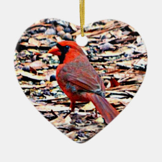 Kardinal (Mann) Keramik Herz-Ornament