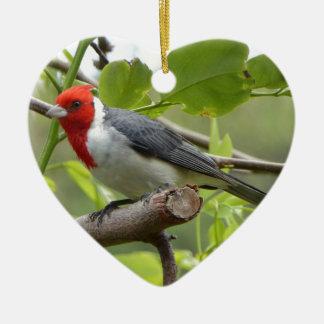 Kardinal mit rotem Schopf Keramik Herz-Ornament