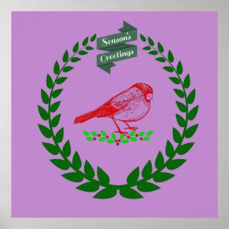 Kardinal mitten in dem WeihnachtsWreath Poster