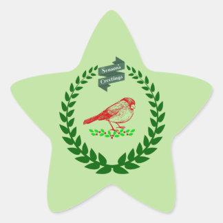 Kardinal mitten in dem WeihnachtsWreath Stern-Aufkleber