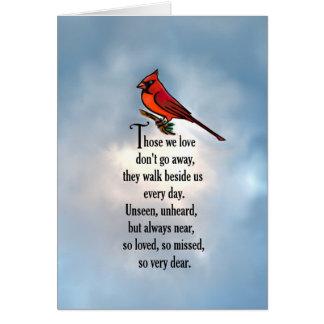 """Kardinals-""""so geliebtes"""" Gedicht Karte"""
