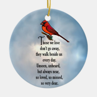 "Kardinals-""so geliebtes"" Gedicht Keramik Ornament"