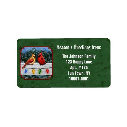 Kardinals-und Weihnachtslicht-Grün Adressaufkleber