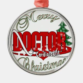 Kardiologe DOKTOR FROHE WEIHNACHTEN Silbernes Ornament