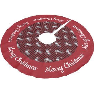Karibu-Ren-rote schwarze karierte rote Grenze Polyester Weihnachtsbaumdecke