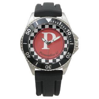 Karierte Hintergrund-Uhr Armbanduhr