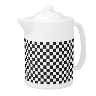Karierte Muster-Schwarzweiss-Teekanne