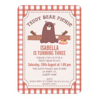 Karierte Teddy-Bärn-Picknick-Geburtstags-Einladung Karte