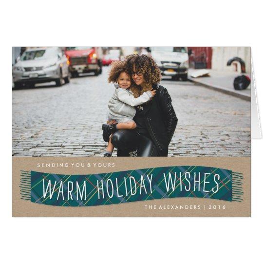 Karierte Winter-Schal-Feiertags-Karte - aquamarin Grußkarte