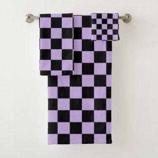 Karierter Lavendel und Schwarzes Badhandtuch Set