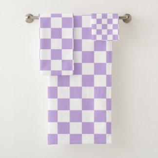 Karierter Lavendel und Weiß Badhandtuch Set