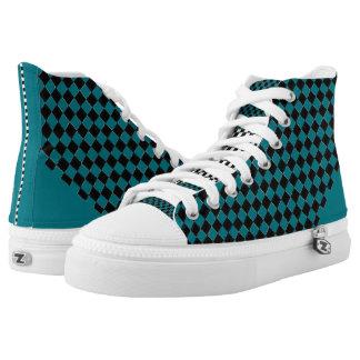 Karierter Punkt-Türkis Hoch-geschnittene Sneaker