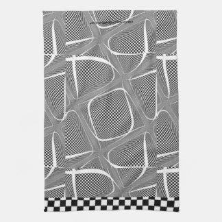Karierter Schwarzweiss-Strudel Handtuch