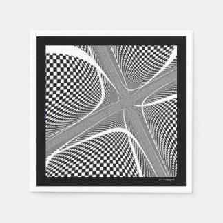 Karierter Schwarzweiss-Strudel Papierservietten