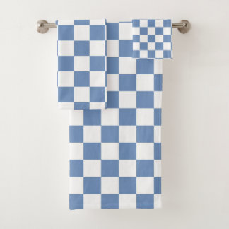 Kariertes Blaues/Grau und Weiß Badhandtuch Set