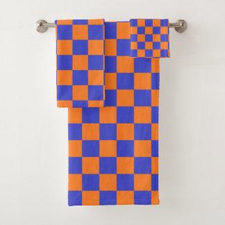 Kariertes Blaues und orange Badhandtuch Set