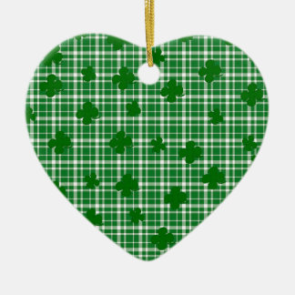Kariertes Muster St. Patricks Tages Keramik Herz-Ornament