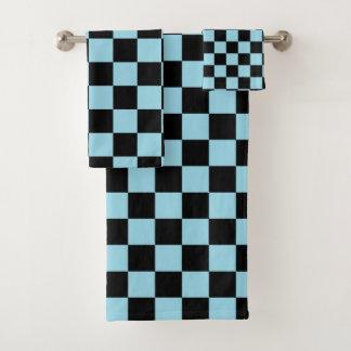 Kariertes Pastellblaues und schwarz Badhandtuch Set