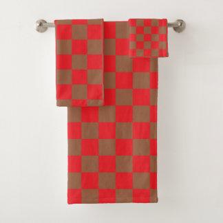Kariertes Rot und Brown Badhandtuch Set