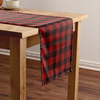 Kariertes Tabellenläufer Schwarzes und Rot Kurzer Tischläufer