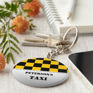 Kariertes Taximonogramm Standard Runder Schlüsselanhänger
