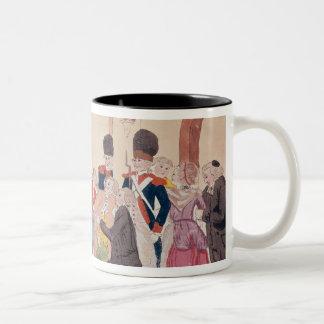 Karikatur der Weise, aristokratisch zu machen Zweifarbige Tasse