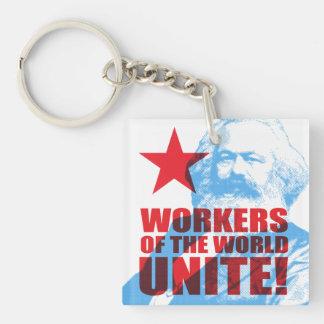Karl- Marxarbeitskräfte der Welt vereinigen! Beidseitiger Quadratischer Acryl Schlüsselanhänger