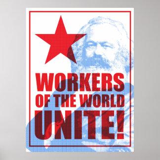 Karl- Marxarbeitskräfte der Welt vereinigen! Poster