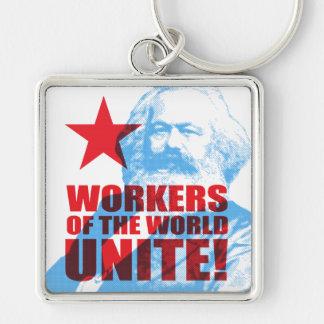 Karl- Marxarbeitskräfte der Welt vereinigen! Silberfarbener Quadratischer Schlüsselanhänger