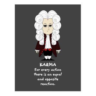 Karma u. Newtons 3. Gesetz (dunkler Hintergrund) Postkarte
